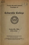 1921-1922 Academic Catalog by Cedarville College