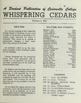 Whispering Cedars, February 9, 1961 by Cedarville College