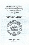 The Department of Engineering and Computer Science Class of 2009 Convocation