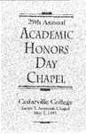 29th Annual Academic Honors Day Chapel