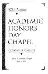 30th Annual Academic Honors Day Chapel