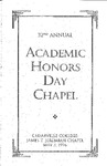 32nd Annual Academic Honors Day Chapel