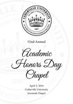 52nd Annual Academic Honors Day Chapel