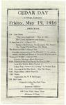 1916 Cedar Day Program by Cedarville College