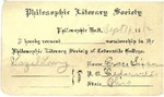 1912 Philosophic Literary Society Membership Card by Cedarville College