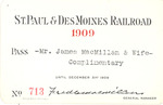 St. Paul & DesMoines Railroad Pass