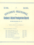 Centennial Observance of Graham's United Presbyterian Church by Cedarville University
