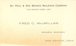 Fred C. MacMillan Business Card by Cedarville University