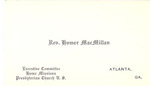 Homer MacMillan Business Card by Cedarville University