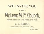 McLean M.E. Church Invitation