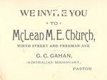 McLean M.E. Church Invitation