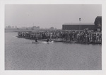Large Crowd Watching Two Canoes on Cedar Lake by Cedarville University