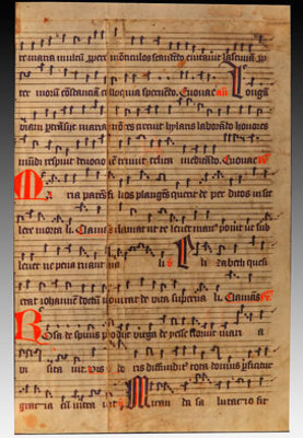 Manuscript Leaf from Antiphonal in Latin Late 14th Century