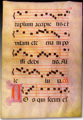 Manuscript Leaf from Antiphonal in Latin circa 1550